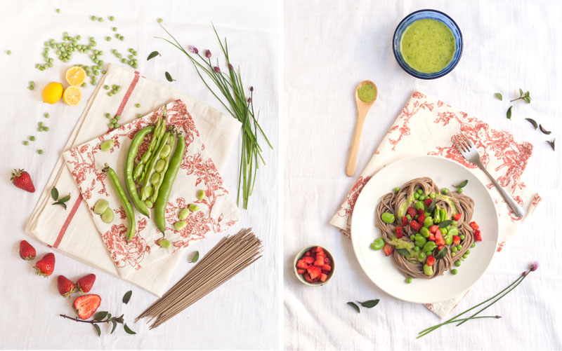 Spring Soba Bowl with Miso-Chive Sauce - Healthialist